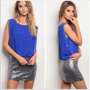 Blue & Silver Sequin Dress